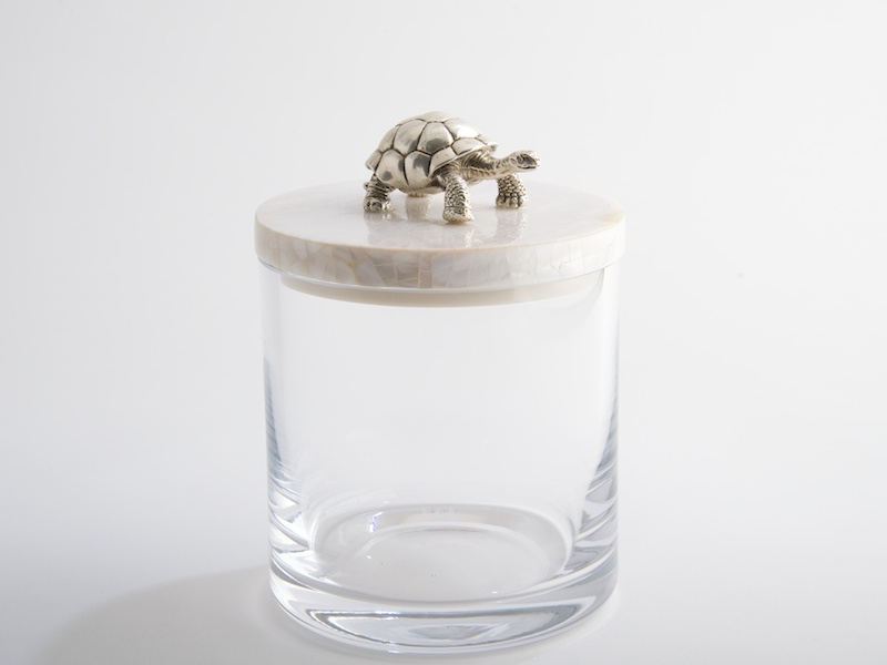 .Glass Jar with Turtle Lid