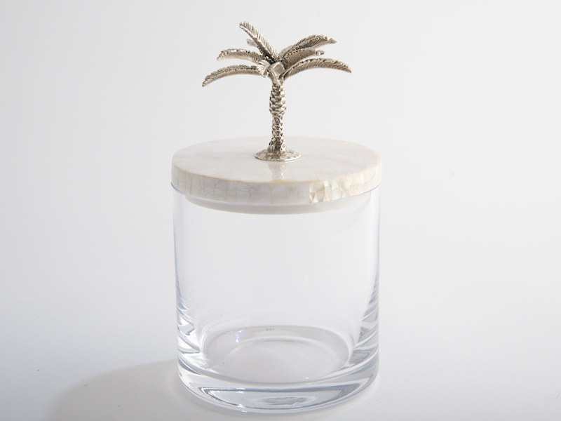 .Glass Jar with Palm Tree Lid