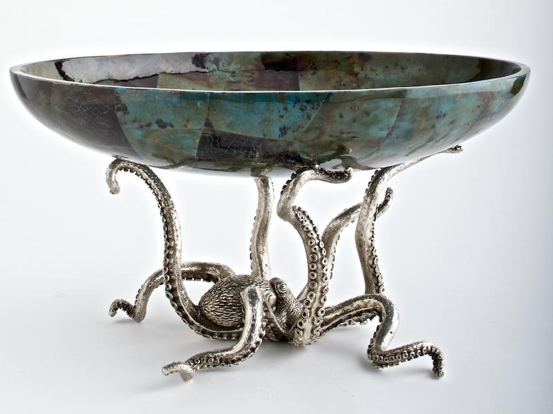 Octopussy Large Oval Bowl  Aqua