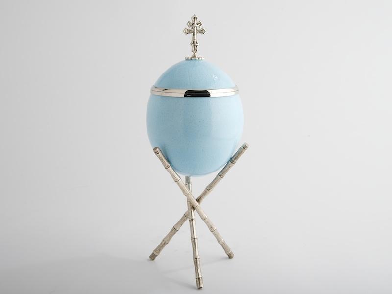 Ostrich Egg - Cross - Blue