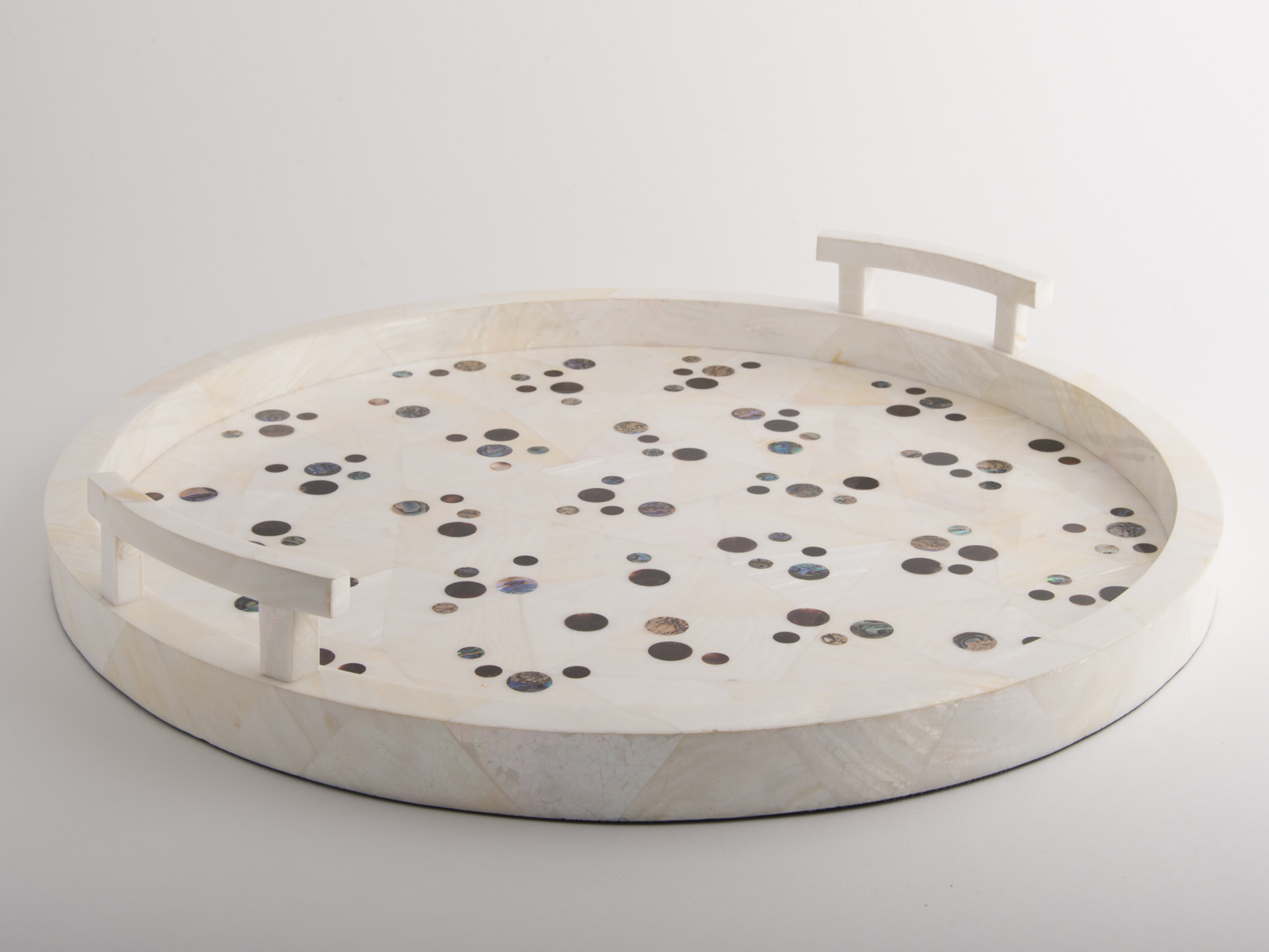Polka Round Tray Shell Cream
