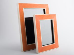 Hepburn Shagreen Photo Frame Tangerine