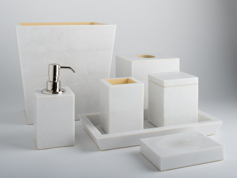 Complete amalfi white bathroom set objet luxe for Complete bathroom accessories sets