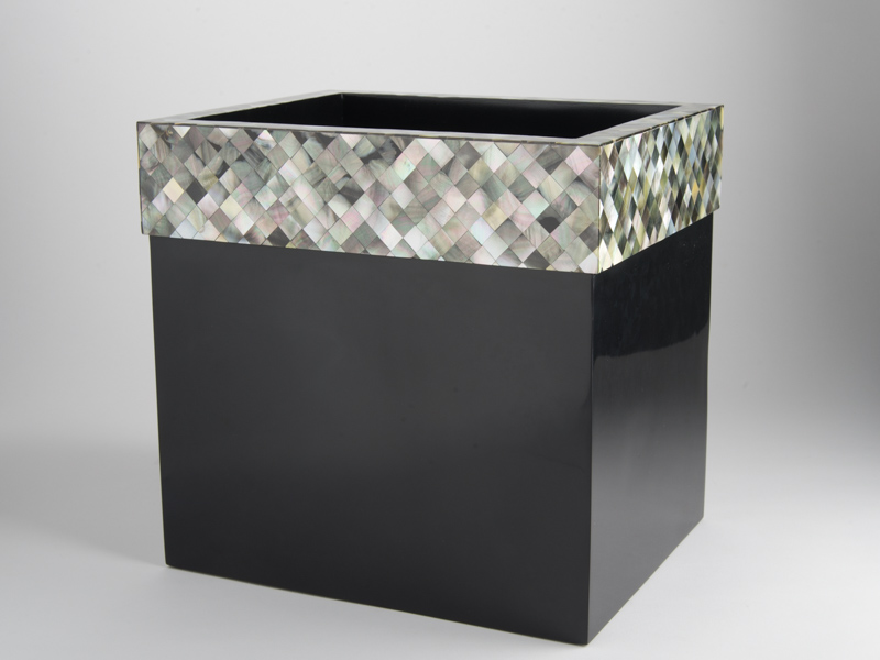 Florence Waste Basket - Black Mother of Pearl