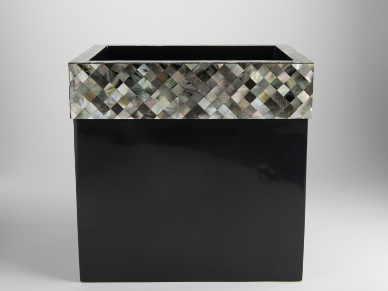 Florence Waste Basket Black Mother Of Pearl
