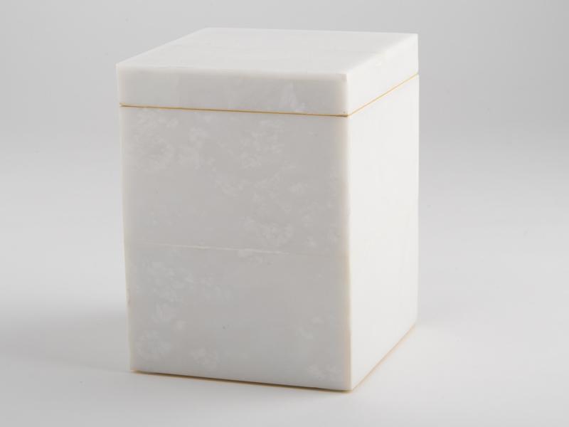 Amalfi Tall Square Box - White Marble