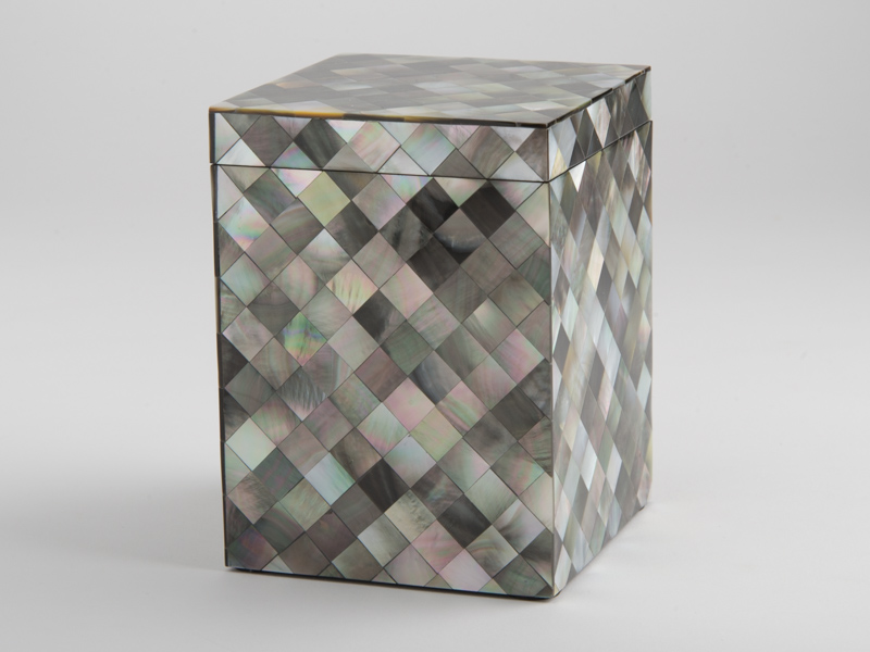 Florence Tall Square Box - Black Mother of Pearl