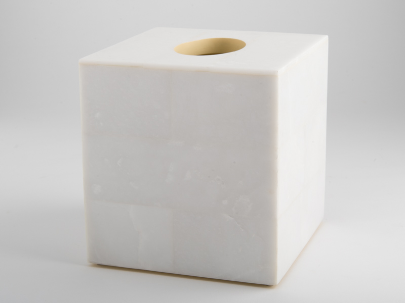 Amalfi Square Tissue Box - White Marble