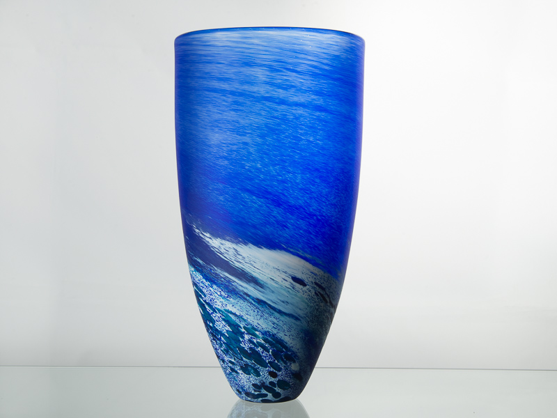 Porthleven Tall Glass Vase Cobalt