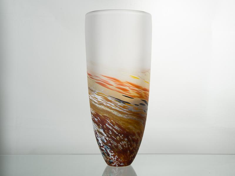 Polperro Tall Glass Vase Amber