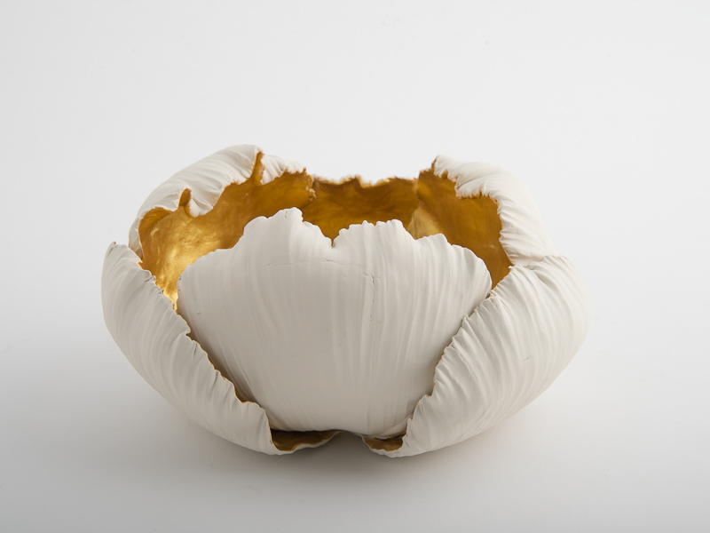 Alba Rose Small Porcelain Bowl - Cream Gold