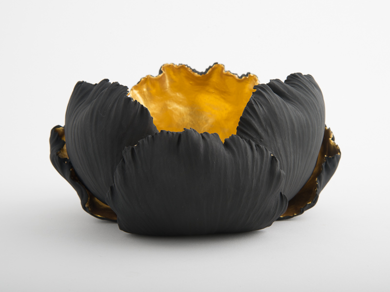 Alba Rose Small Porcelain Bowl - Black Gold