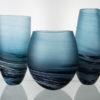 Porthleven Round Glass Vase Steel Blue