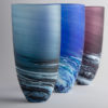 Porthleven Tall Glass Vase Steel Blue