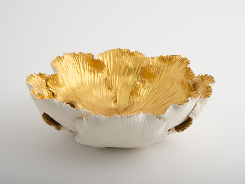 Peony Porcelain Candle Bowl - Cream Gold