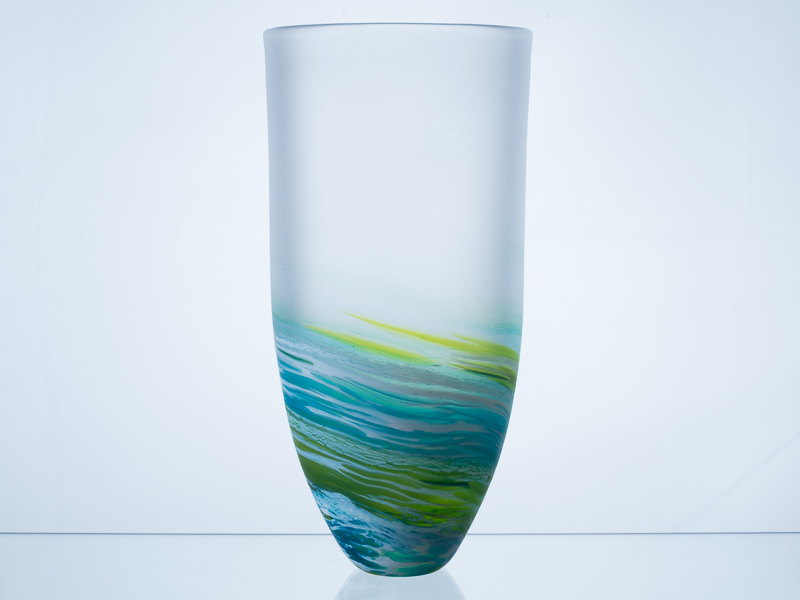 Polperro Tall Glass Vase Aqua