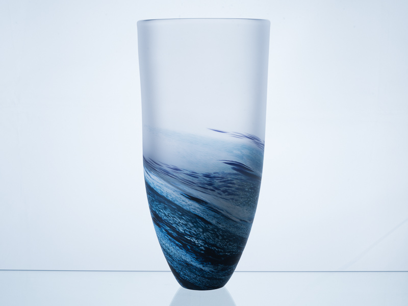 Polperro Tall Glass Vase Navy