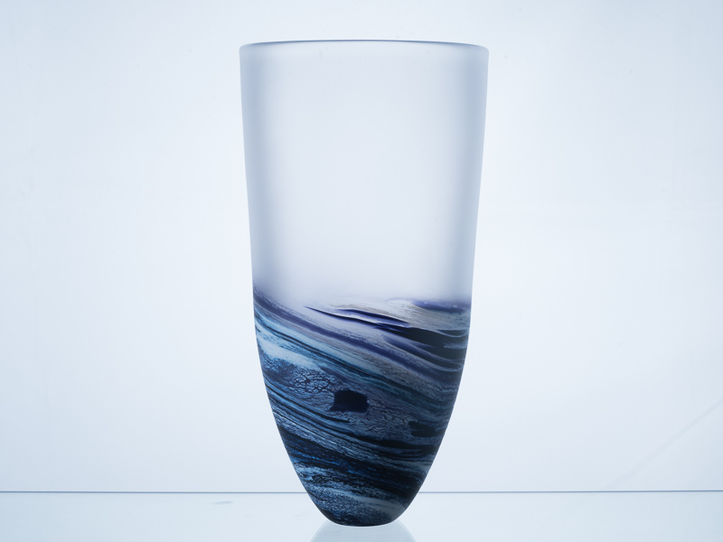 Polperro Tall Glass Vase Indigo