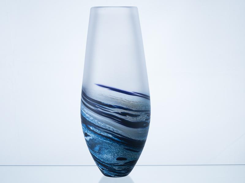 Polperro Tear Glass Vase Navy Objet Luxe