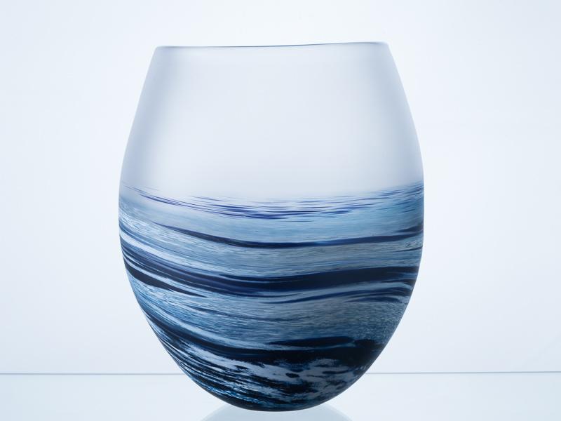 Polperro Round Glass Vase Navy