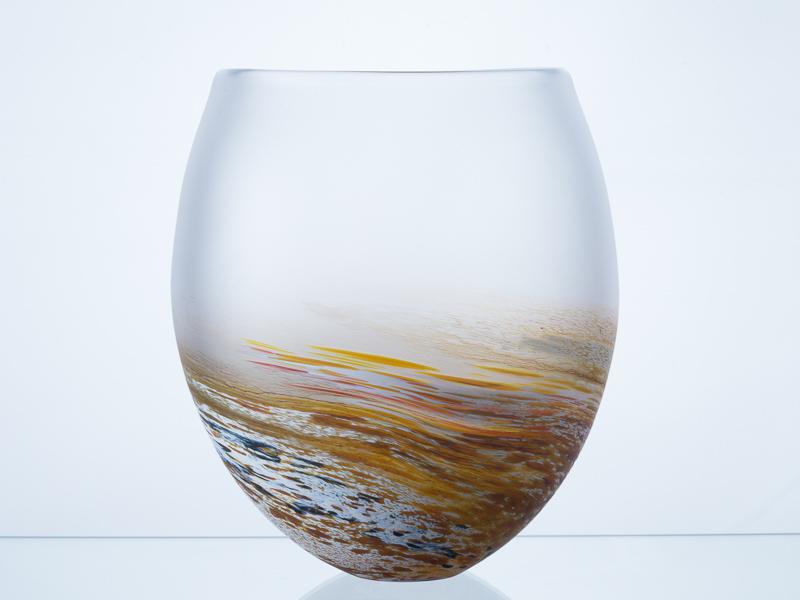 Polperro Round Glass Vase Amber