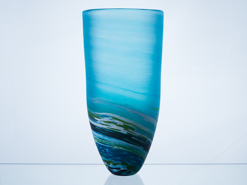 Porthleven Tall Glass Vase Aqua
