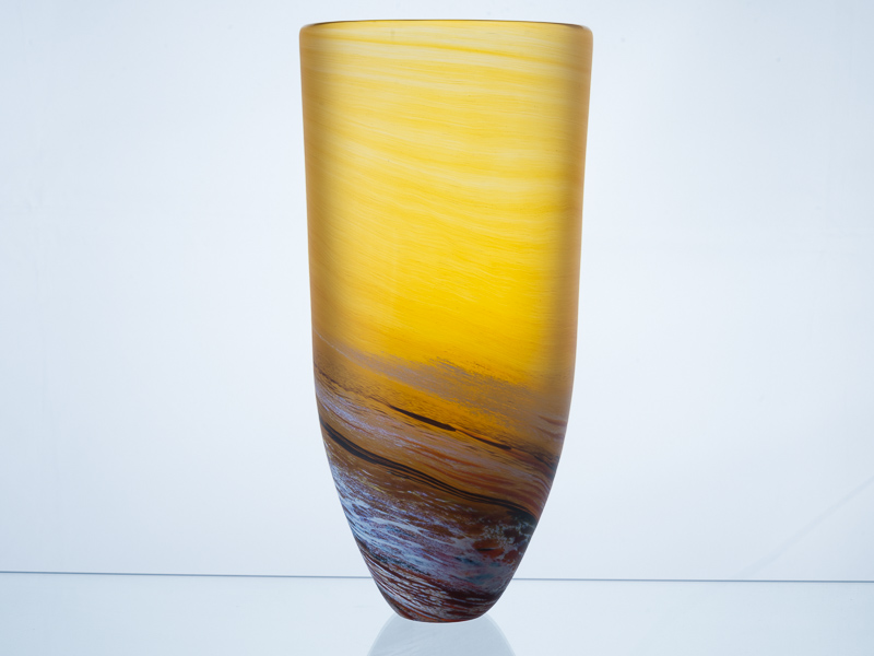 Porthleven Tall Glass Vase Amber