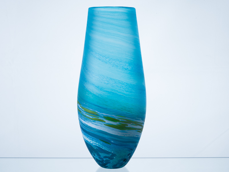Porthleven Tear Glass Vase Aqua