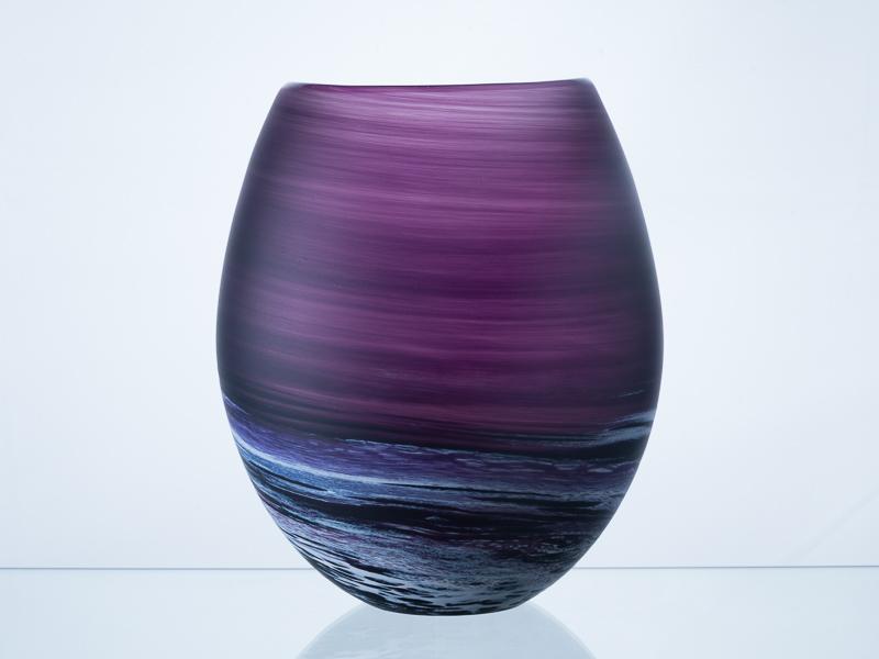 Porthleven Round Glass Vase Aubergine
