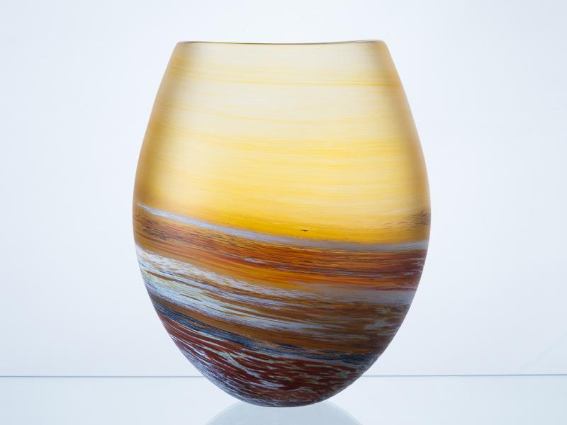 Porthleven Round Glass Vase Amber