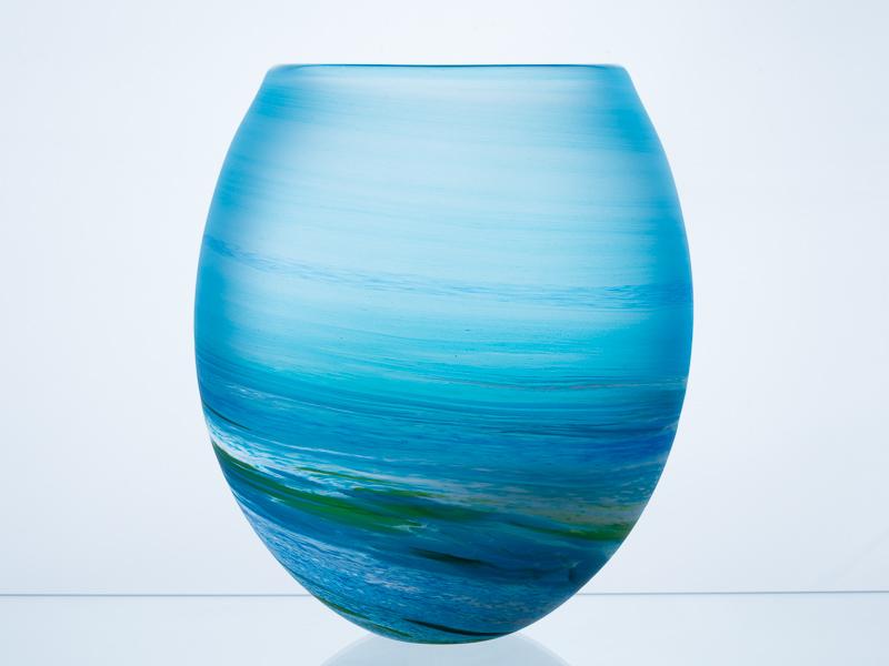 Porthleven Round Glass Vase Aqua