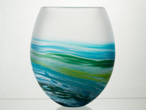 Polperro Round  Glass Vase Aqua
