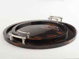 Minka Tray - Brown/Silver