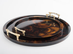 Minka Tray - Brown/Gold
